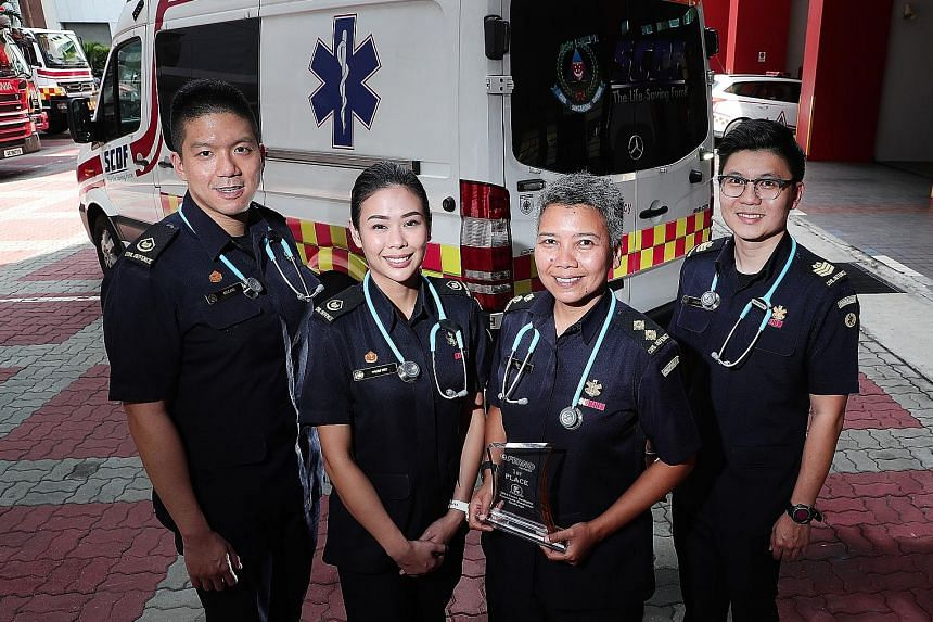 The winning SCDF team is made up of (from left) Warrant Officer Zane Ang, Warrant Officer Naomi Wee, Lieutenant Noraini Kasbani and Staff Sergeant Jason Kwek. They beat five teams in the competition held in Australia.