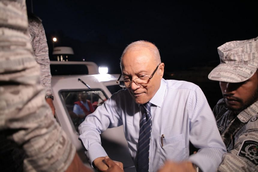 Former President Of Maldives Maumoon Abdul Gayoom disembarks from a boat to attend a hearing at the High Court of Maldives in Male, on Sept 30, 2018.
