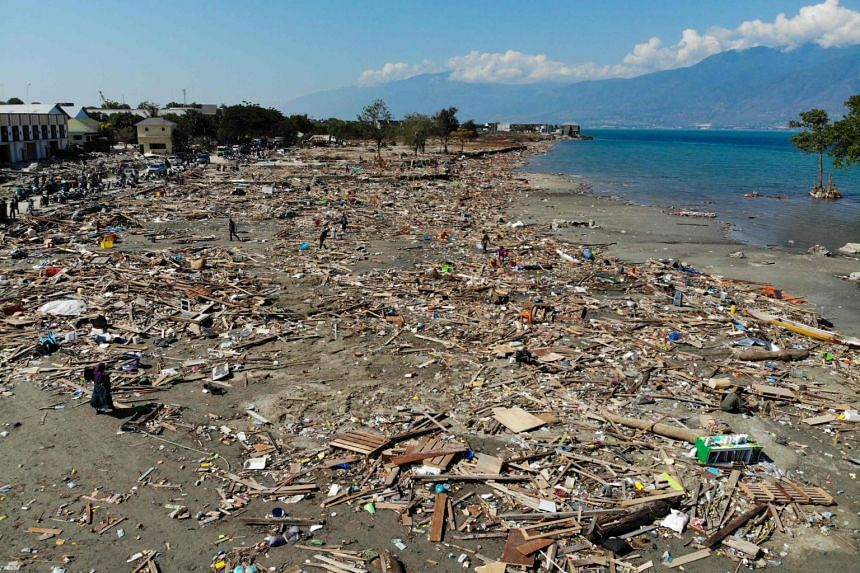 A general view of debris left in the wake of a tsunami and earthquake in Palu, Sulawesi, on Oct 1, 2018.
