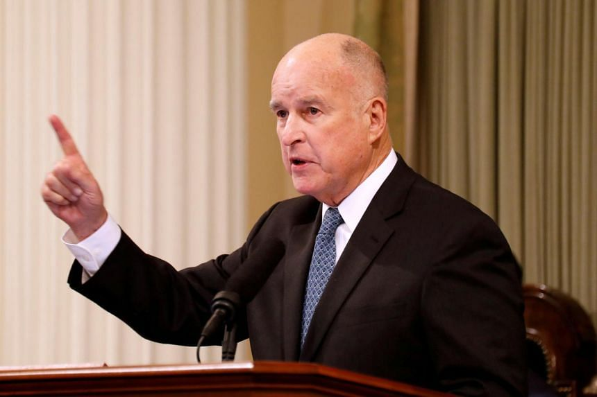 California Governor Jerry Brown delivering a state address in Sacramento, California, on Jan 25, 2018.