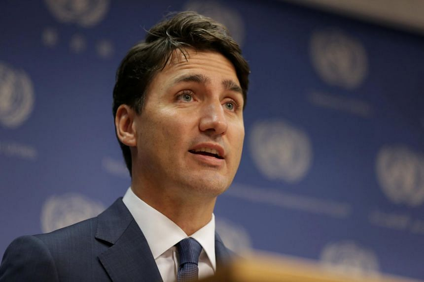 Canadian Prime Minister Justin Trudeau at a news conference at the United Nations headquarters during the General Assembly of the United Nations in New York, on Sept 26, 2018.