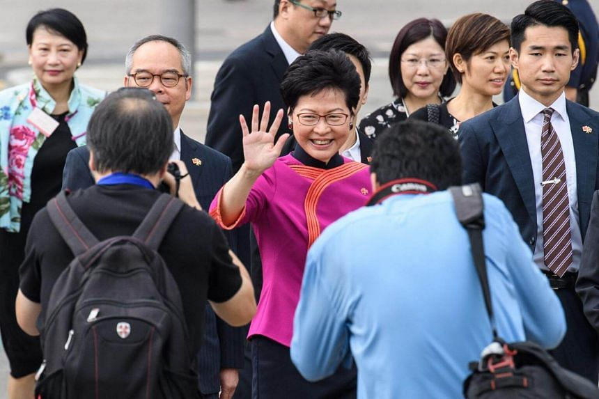 Hong Kong Chief Executive Carrie Lam said this year's National Day celebration is particularly meaningful, as it coincided with the 40th anniversary of China's reform and opening up.
