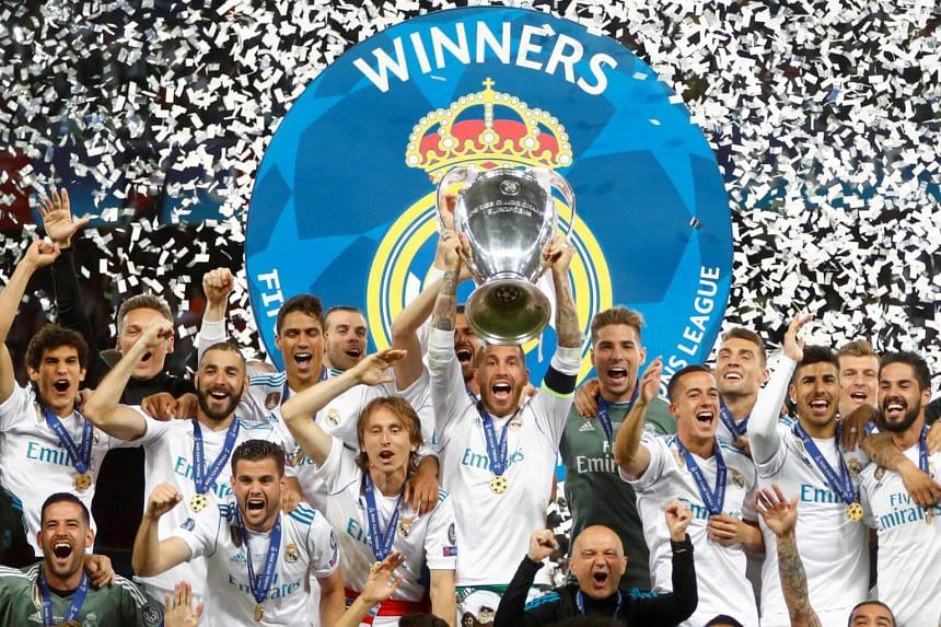 Real Madrid's Sergio Ramos lifting the Champions League trophy after beating Liverpool, on May 26, 2018.