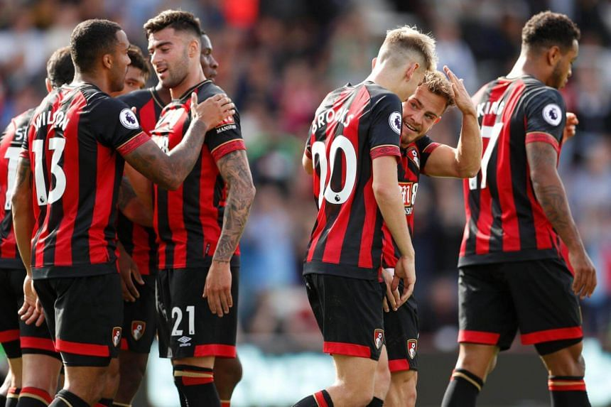 Bournemouth players celebrating after scoring a goal in their English Premier League match against Leicester City at the Vitality Stadium in Britain, on Sept 15, 2018.