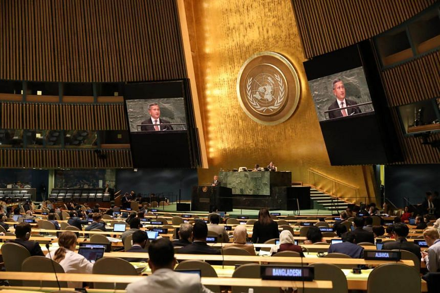 Foreign Minister Vivian Balakrishnan delivering Singapore's National Statement during the General Debate of the 73rd Session of the United Nations General Assembly in New York, on Sept 29, 2018.