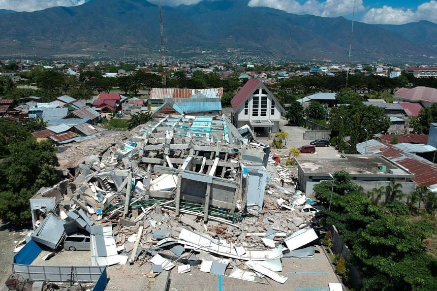 An aerial photo showing a 10 storey hotel in Palu, Sulawesi, that was destroyed by an earthquake, on Sept 30, 2018.