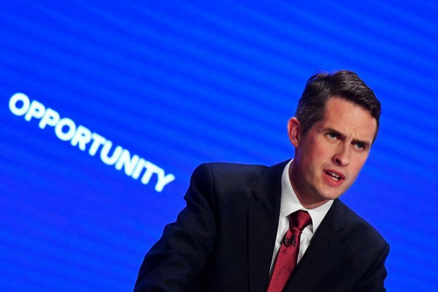 Britain's Defence Secretary Gavin Williamson addresses the Conservative Party Conference in Birmingham, Britain, on Sept 30, 2018.