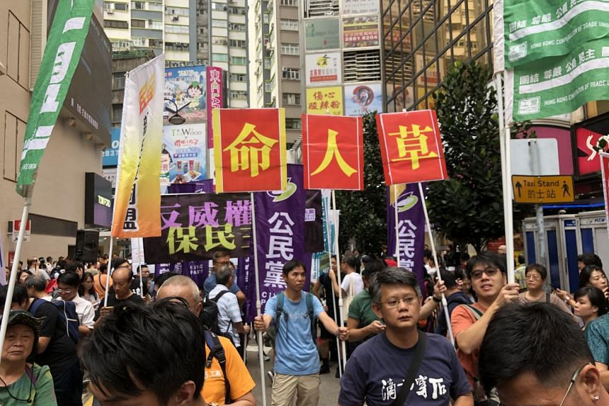 More than 1,200 pro-democracy supporters gathered in Causeway Bay to protest against the government's controversial plan to create a new national security law, among other things.