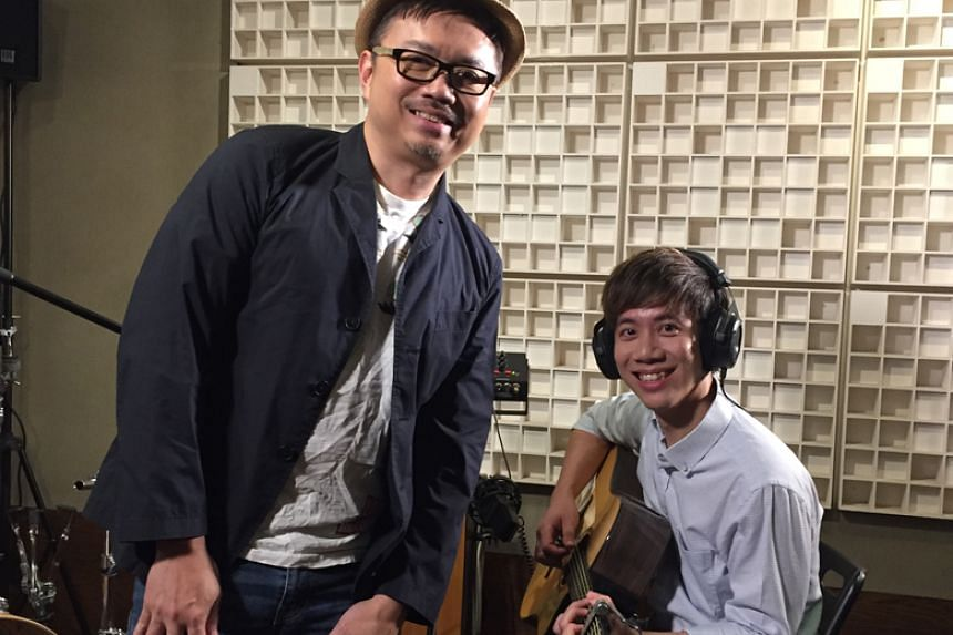 Local veteran musician George Leong (left) mentors wedding singer Daniel Ong in the first episode of Sing Our Song, a brand new music programme.