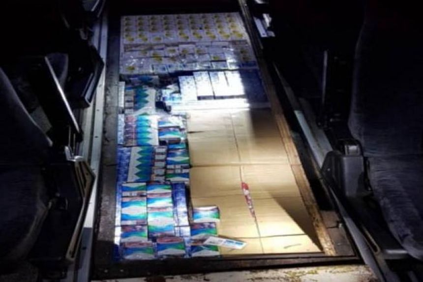 Officers became suspicious after studying scanned images of the bus's floorboard, and referred the vehicle for further checks.