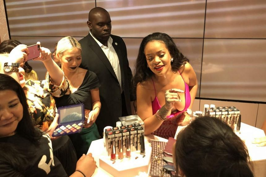 Rihanna greets fans at the first anniversary of her brand, Fenty Beauty, at Sephora Ion Orchard, on Oct 1, 2018.