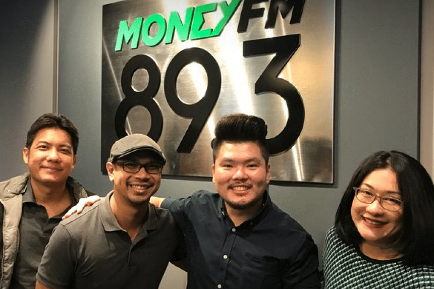 Money FM's Breakfast Huddle team of Ryan Huang(extreme left), Elliott Danker (second from left) and Yasmin Yonkers (extreme right), with Capitol Optical's CCO Marcus Wong (second from right).