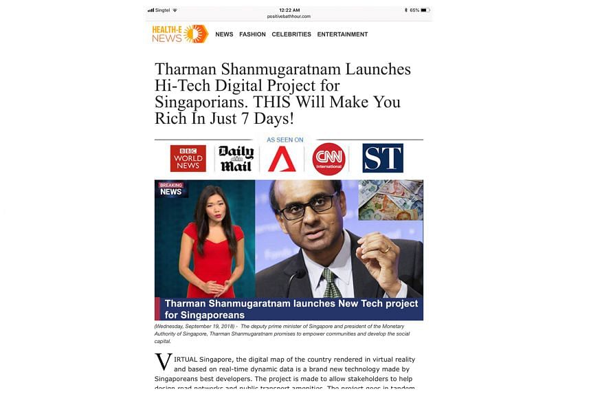 A screenshot of a fake bitcoin site with bogus remarks attributed to Deputy Prime Minister Tharman Shanmugaratnam. Such false endorsements are typically the work of crime gangs, say bitcoin experts.