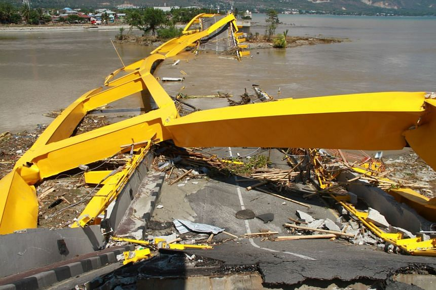 A collapsed bridge in Palu. The 7.4-magnitude earthquake struck the capital of Central Sulawesi province last Friday.