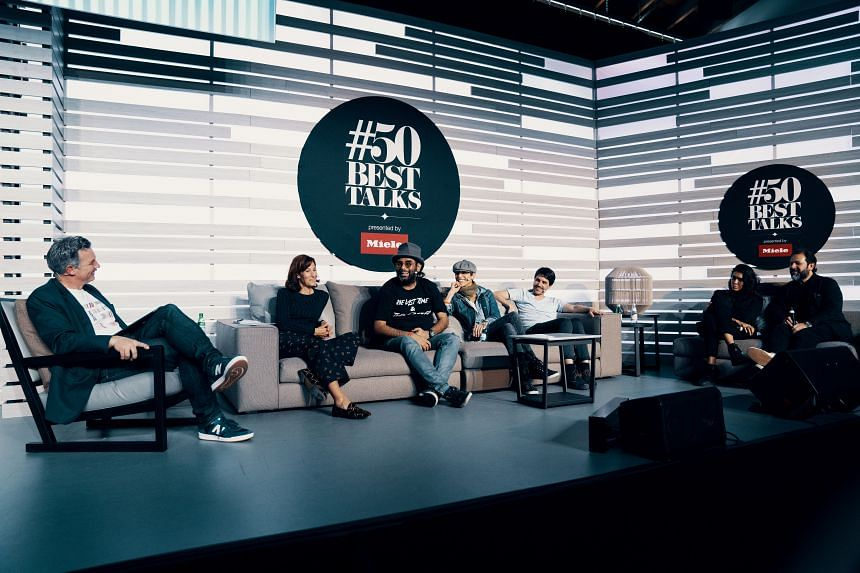 A photo of the most recent round of #50BestTalks, a food forum featuring top chefs and restaurateurs presented by German appliance brand Miele, in San Francisco in September 2018.