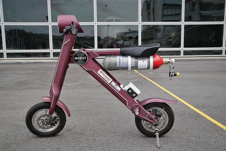 A scooter that runs on a hydrogen fuel cell.