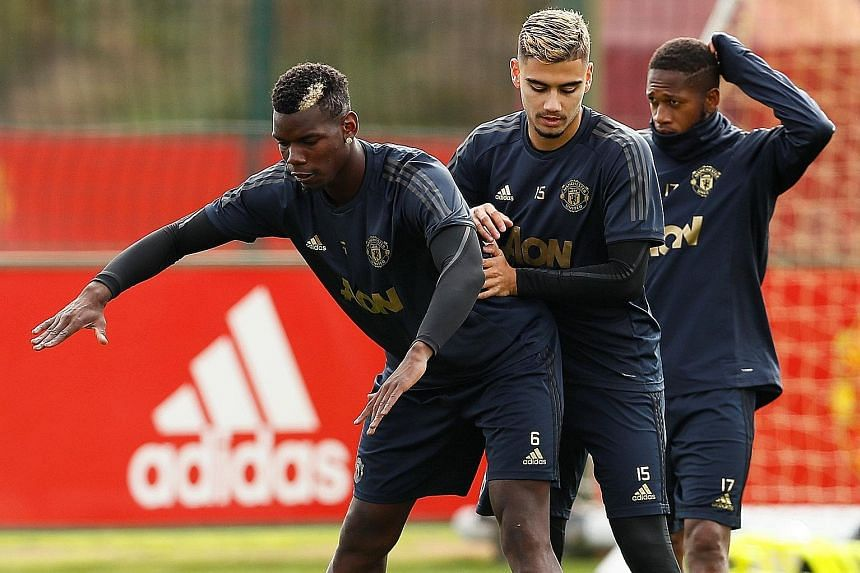 Manchester United's Paul Pogba, Andreas Pereira and Fred during training in Manchester yesterday ahead of the Champions League Group H clash against Valencia at Old Trafford today. United boss Jose Mourinho feels that some players are taking the team