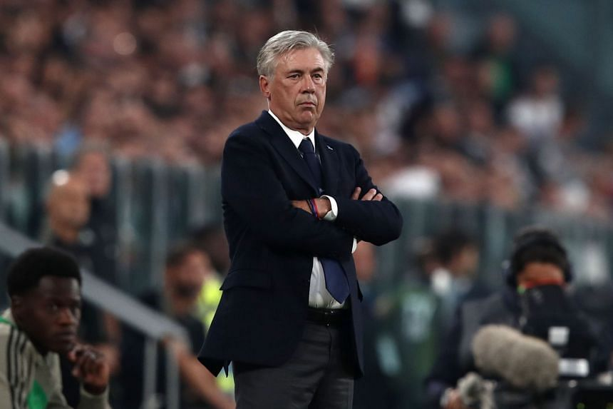 Napoli's Italian coach Carlo Ancelotti at the Italian Serie A football match between Juventus and Napoli on Sept 29, 2018, at the Juventus stadium in Turin.