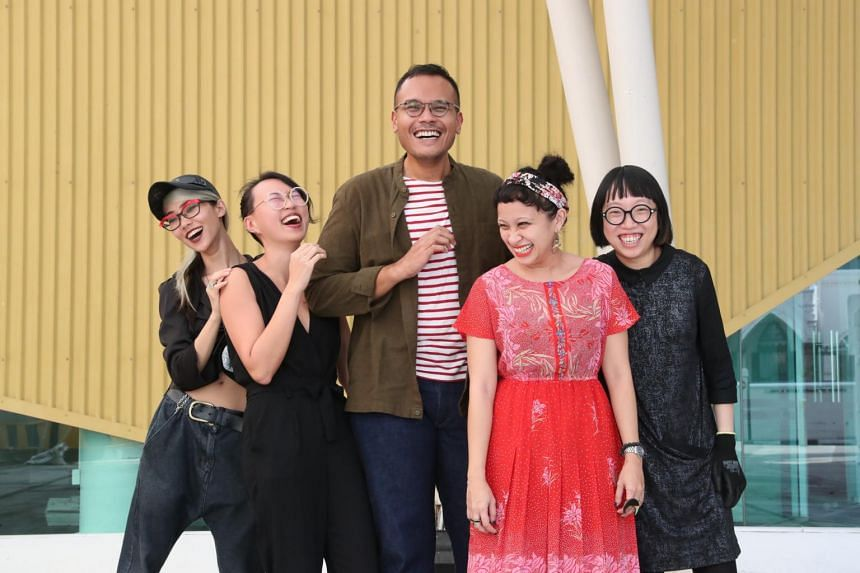 The works of artists (from left) Weixin Quek Chong, 30, Yanyun Chen, 31, Hilmi Johandi, 31, Zarina Muhammad, 36, and Debbie Ding, 34, will be shown at the President's Young Talents 2018 exhibition.