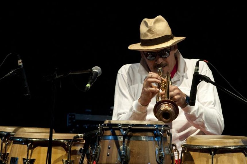 """US trumpeter Jerry Gonzalez performing during a concert in the """"Ajazzgo Festival 2014"""" at Enrique Buenaventura Municipal theatre, in Cali, Colombia, on Sept 11, 2014."""