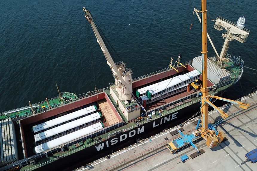The trains are manufactured in China by a consortium of Japan's Kawasaki Heavy Industries and China's CSR Qingdao Sifang Co, which won a $749 million contract four years ago to supply the trains.