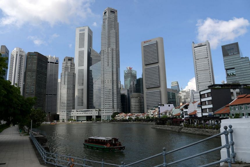 File photo showing the skyline of Singapore's central business district, on June 29, 2018.