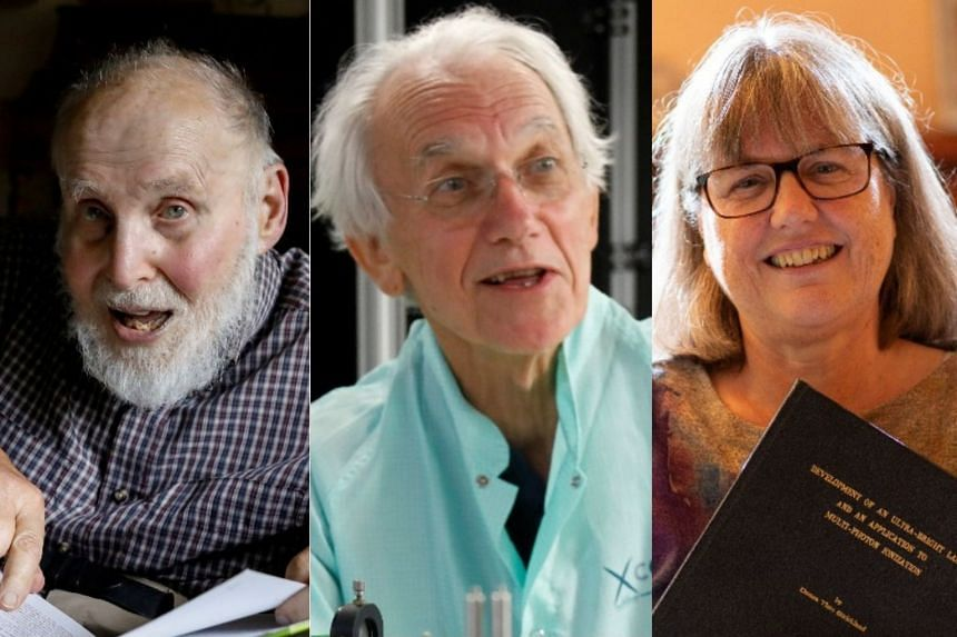 Scientists (from left) Arthur Ashkin, Gerard Mourou and Donna Strickland.