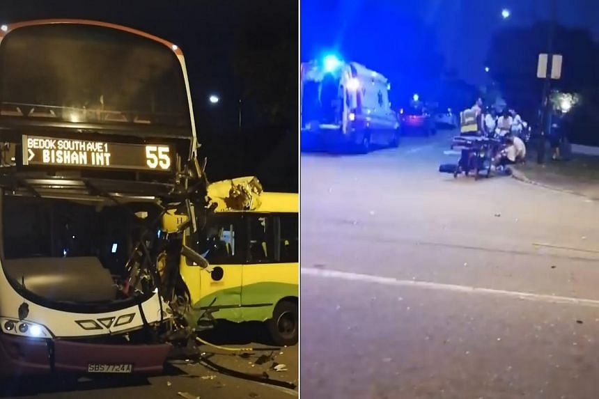 In a video posted on Facebook, the front of the SBS bus can be seen heavily damaged, with the windscreen completely shattered and the left side of the bus badly crushed.