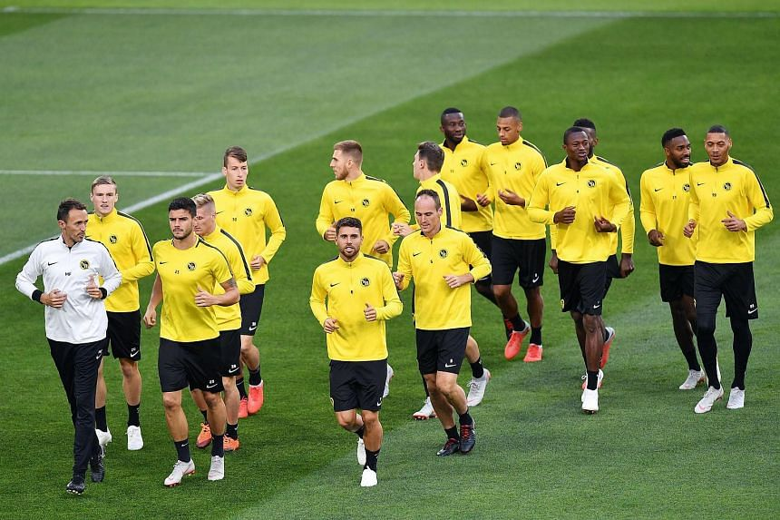 Young Boys' players attend a training session at the Allianz Arena stadium in Turin, Italy, on Oct 1, 2018.