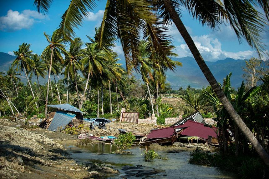Destroyed houses and debris seen in Petobo village near Palu in Indonesia's Central Sulawesi on Oct 1, 2018, after a deadly earthquake and tsunami hit the area on Sept 28.