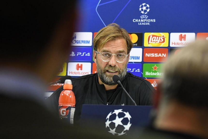 Klopp attends a press conference at the San Paolo stadium in Naples, Italy.
