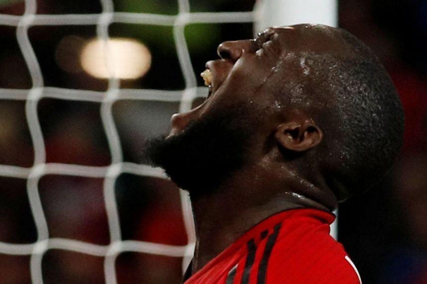 Manchester United's Romelu Lukaku reacts during the match.