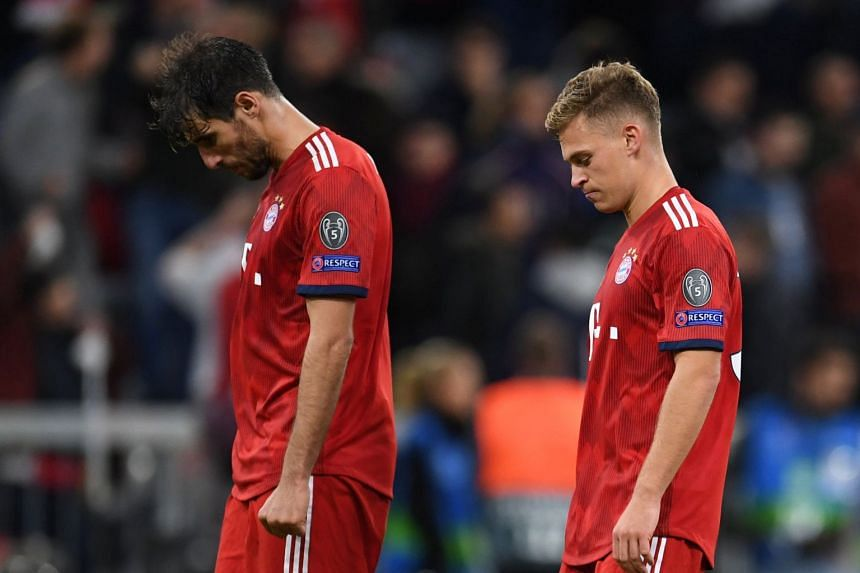 Bayern Munich's Javi Martinez and Joshua Kimmich look dejected after the match.