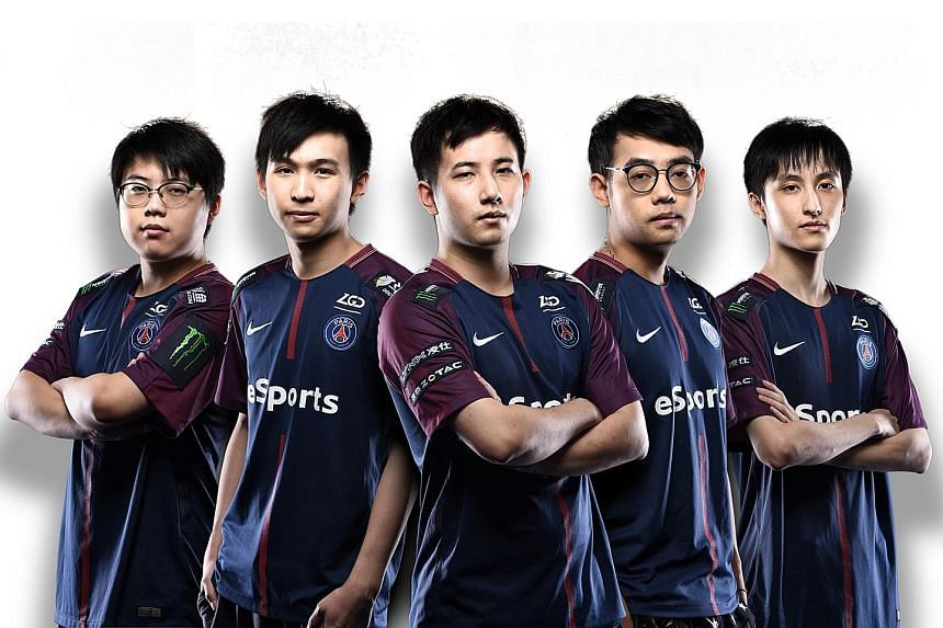 The PSG.LGD e-sports team comprises (from far left) Chalice, xNova, Fy, Somnus M and Ame. The grand final Dota 2 match of The International 2018 between PSG.LGD and OG on Aug 25 at Rogers Arena in Vancouver, Canada. PSG.LGD came in second.
