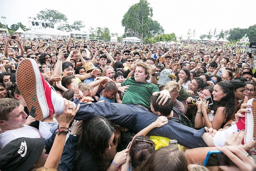 Canadian singer-songwriter Mac DeMarco crowd-surfing at last year's Laneway festival, which was held at Gardens by the Bay.