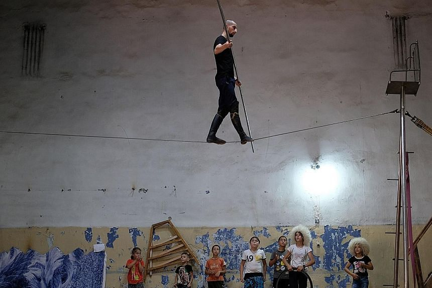 In Makhachkala, children are learning the art of tightrope walking at a circus studio, in an attempt to preserve the tradition.