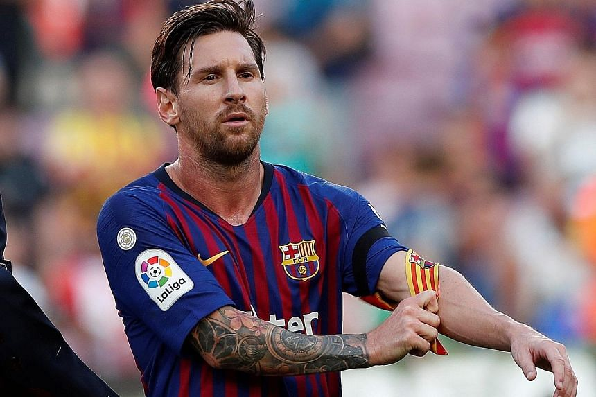 Barcelona will turn to Lionel Messi, seen removing his captain's armband after their draw with Athletic Bilbao, to lift them from their wretched spell. They have dropped seven points in their last three LaLiga games.