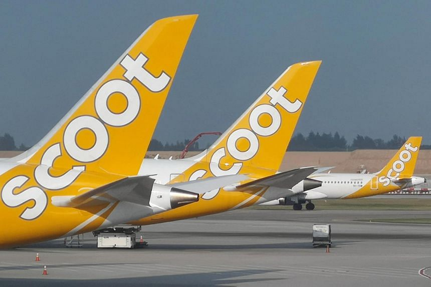 Scoot planes seen on the tarmac of Singapore's Changi Airport, on Aug 14, 2018.