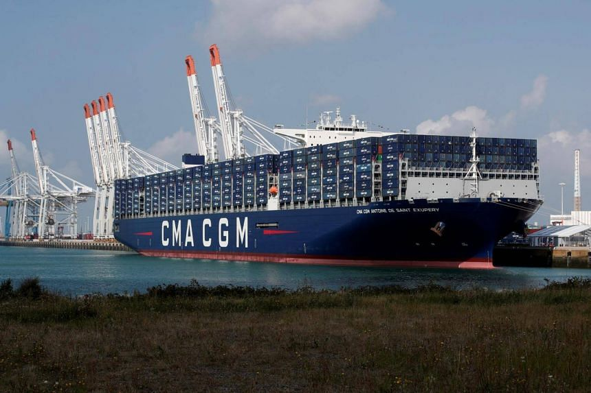 The CMA CGM Antoine de Saint Exupery container ship sits docked in Le Havre, France, on Sept 6, 2018.