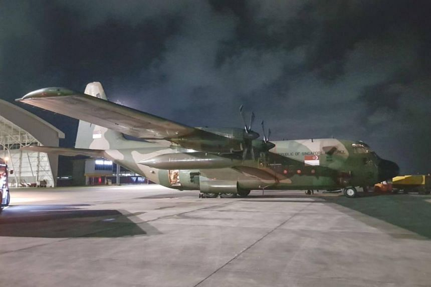 One of the Republic of Singapore Air Force C-130 transport aircraft that delivered humanitarian supplies to Indonesia at Balikpapan Airport.