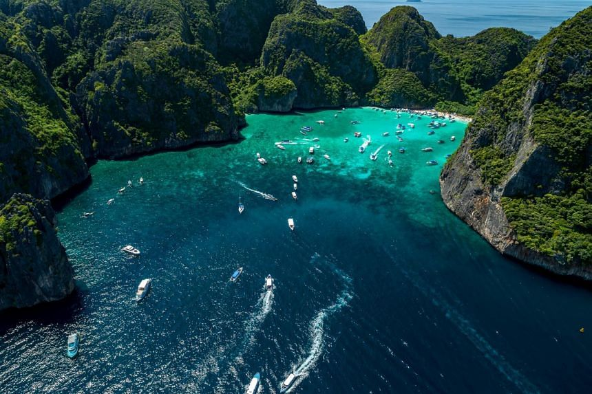 Maya Bay, ringed by cliffs on Ko Phi Phi Ley island, was made famous when it featured in The Beach starring Leonardo DiCaprio.