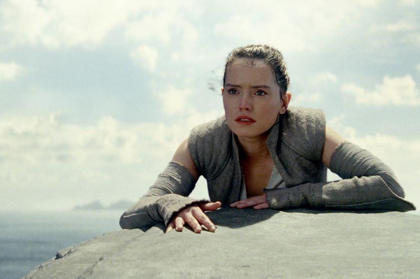 A cinema still from Star Wars: The Last Jedi starring Daisy Ridley.