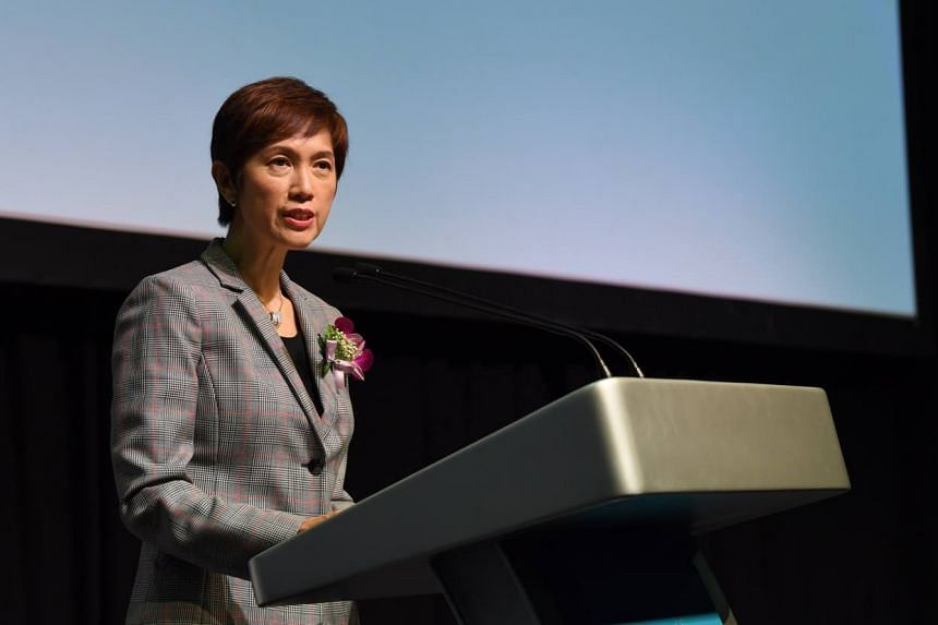 Mrs Josephine Teo speaking at the opening of the Security Industry Conference at Marina Bay Sands, on Wednesday (Oct 3).