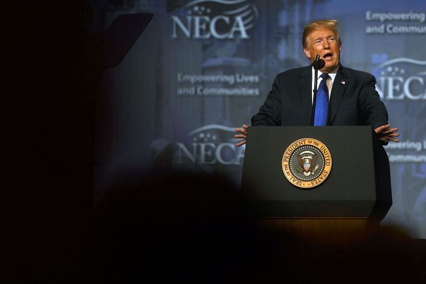 Trump addressing the National Electrical Contractors Convention on Oct 2, 2018, in Philadelphia, Pennsylvania.
