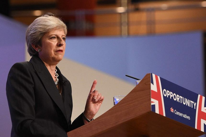 Britain's Prime Minister Theresa May gives an address at the Conservative Party Conference 2018, at the International Convention Centre in Birmingham, England, on Oct 3, 2018.