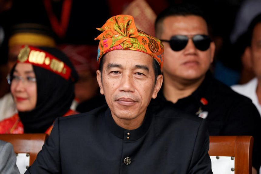 Indonesian President Joko Widodo attends a ceremony marking the start of the campaigning period for next year's election in Jakarta, on Sept 23, 2018.