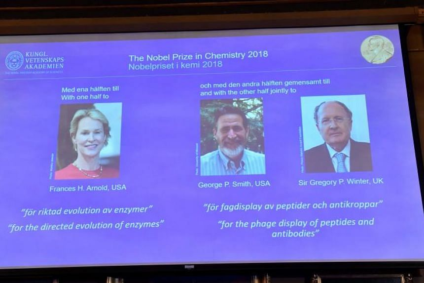 American scientists Frances Arnold and George Smith and British researcher Gregory Winter were awarded the prize for harnessing the principles of evolution to develop proteins used to make everything from biofuels to pharmaceuticals.