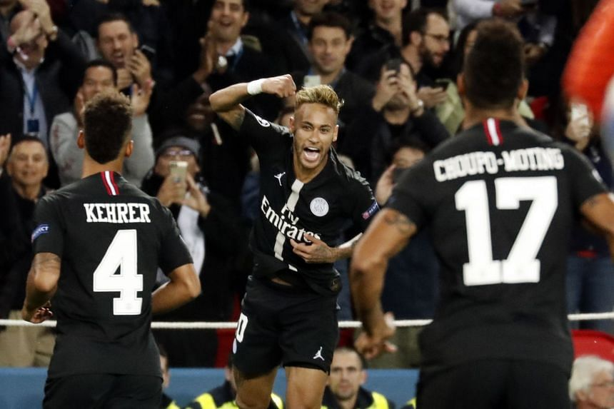 Neymar celebrates after scoring.