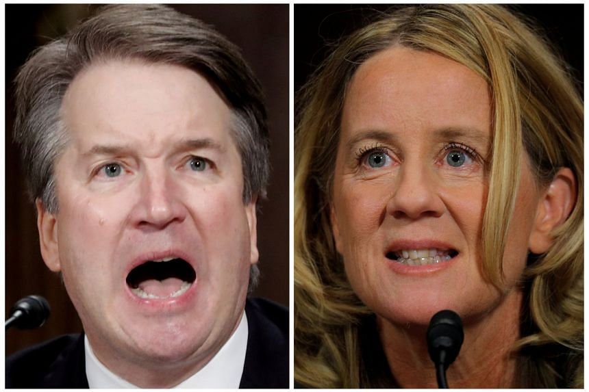 Kavanaugh and Ford testify in this combination photo during a Senate Judiciary Committee hearing.