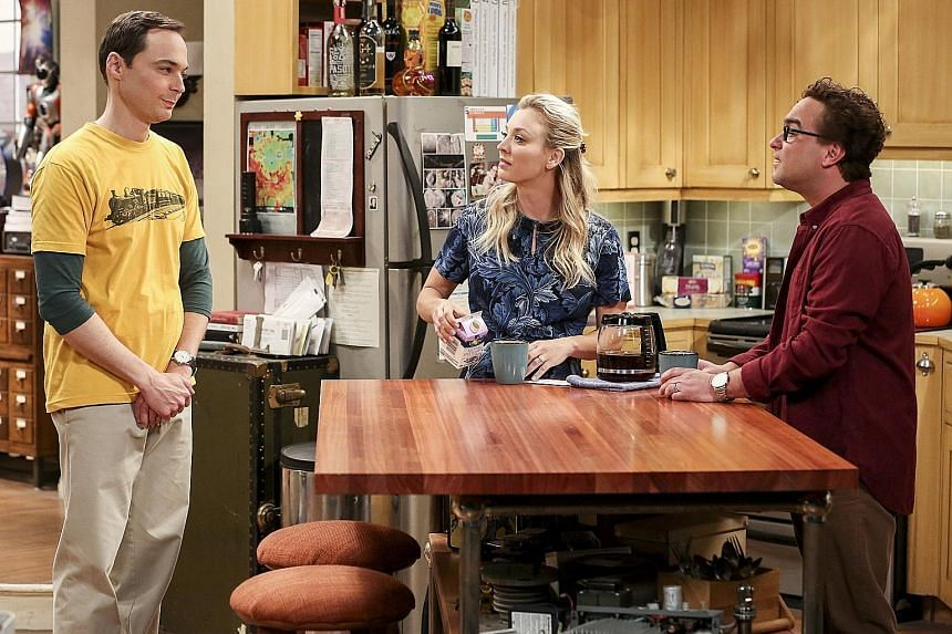 The Big Bang Theory stars (from far left) Jim Parsons, Kaley Cuoco and Johnny Galecki.